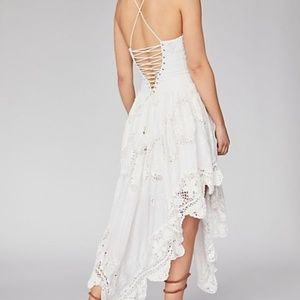 Free People White Embroidered Lace up sun dress